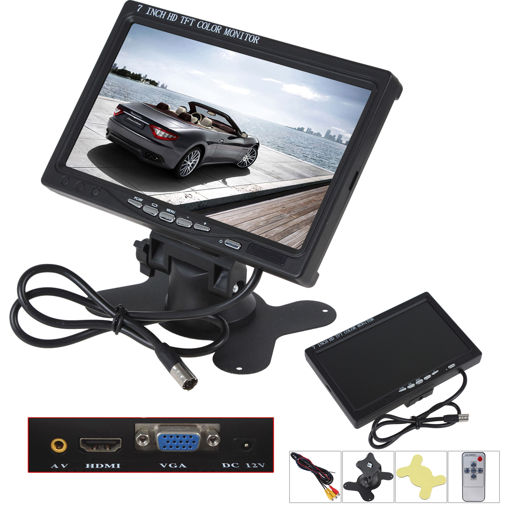 TV TELEVISORE MONITOR LCD 8/'/' TFT VIDEOSORVEGLIANZA VGA BNC HDMI USB TELECOMANDO