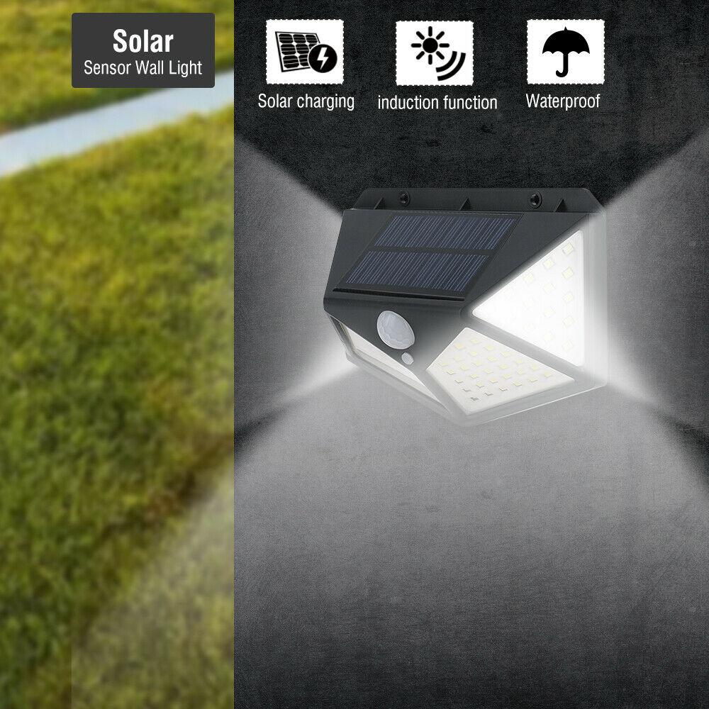 4pcs Lampe Lumière Projecteur Phare Extérieur Énergie Solaire 100 LED Mouvement