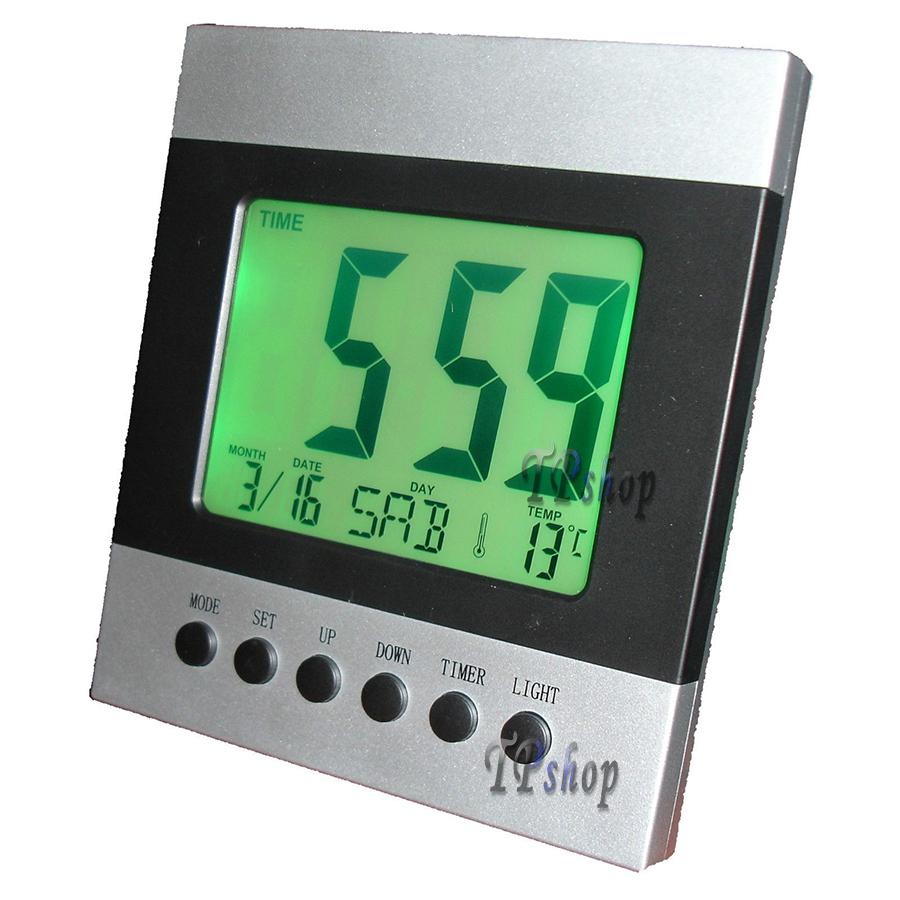 Orologio sveglia datario termometro digitale da tavolo digitale display lcd ebay - Orologio da tavolo digitale ...