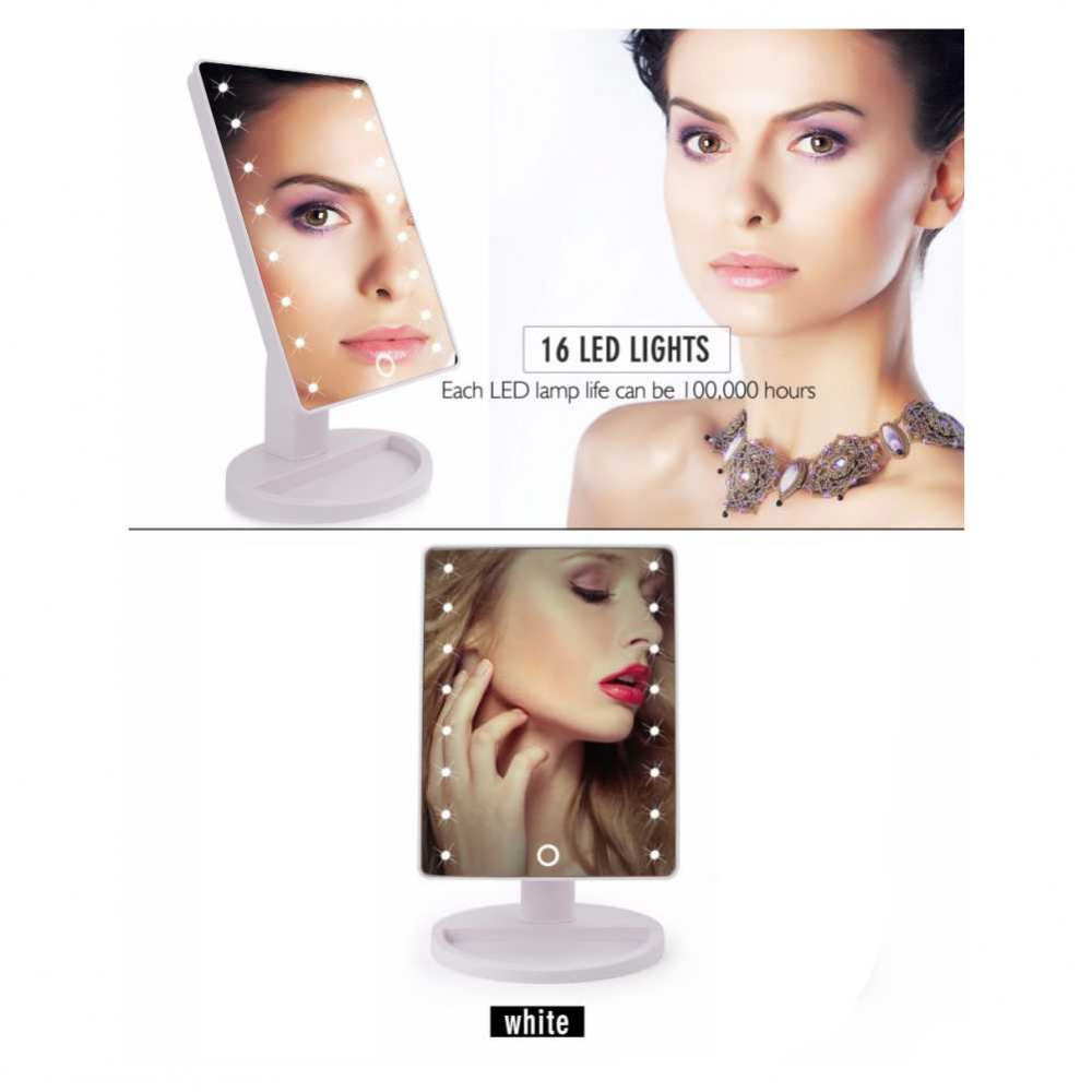 Pdr specchio da trucco illuminato 16 led portatile make up rotante cosmesi ebay - Specchio trucco illuminato ...